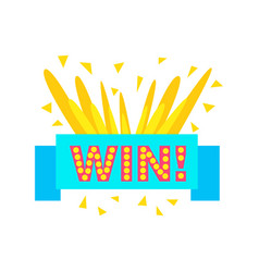 win congratulations sticker with blue ribbon vector image
