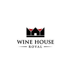 wine house royal logo design concept vector image