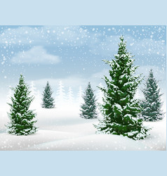 Winter landscape fir tree vector
