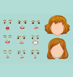 Woman faces with different expressions vector