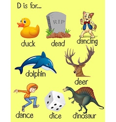 Words begin with letter D vector