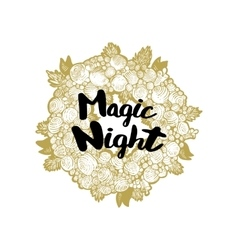Xmas golden wreath and Magic Night vector