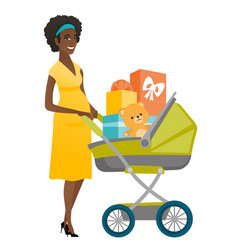 Young pregnant woman with a pram full of presents vector