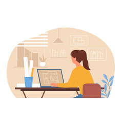 Young woman architect with braided hair creating vector