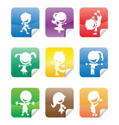 colorful glossy stickers with happy kids silhouett vector image
