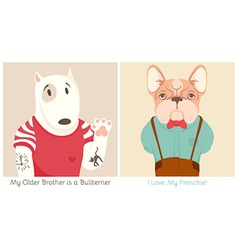 French Bull Dog and Bullterrier Cartoon vector image vector image