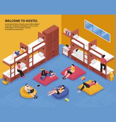Hostel bedroom isometric vector