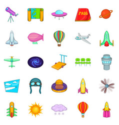 Space icons set cartoon style vector