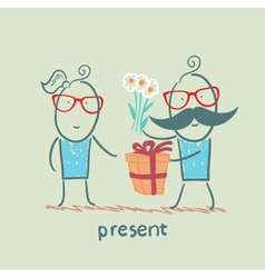 a person gives a gift of flowers girl vector image