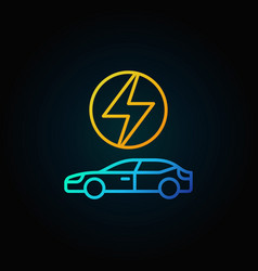 electric car concept colorful icon in line style vector image vector image