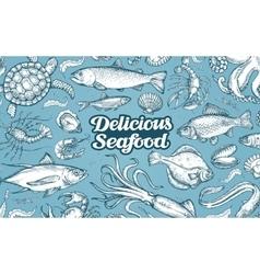 Hand drawn sketch seafood vector image
