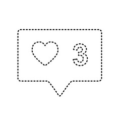 like and comment sign black dashed icon vector image