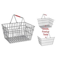 Metallic basket on isolated white background vector image vector image