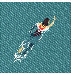 woman swim swimming pool top view flat style vector image vector image