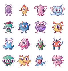 alien scary monster icons set cartoon style vector image
