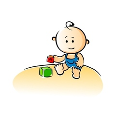 Cute cartoon baby playing with building blocks vector image