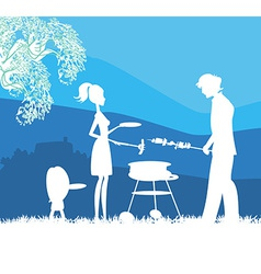 Happy family with barbecue outdoors vector image
