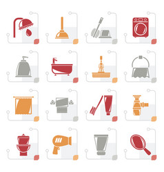 stylized bathroom and hygiene objects icons vector image vector image