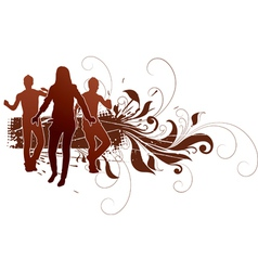active people in grunge design vector image vector image