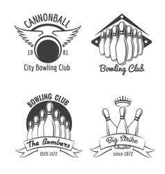 Bowling club emblem set vector