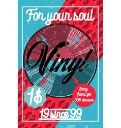 Color vintage music shop poster vector image vector image