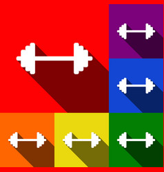 dumbbell weights sign set of icons with vector image