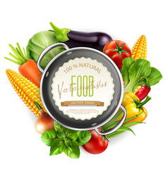 menu pattern with vegetables and saucepan vector image vector image