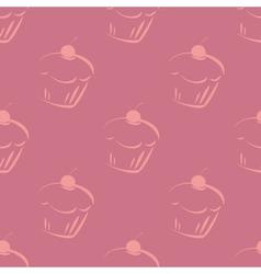 Seamless violet pattern or tile cupcake background vector