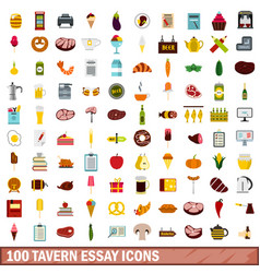 100 tavern essay icons set flat style vector
