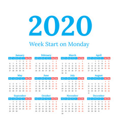 2020 calendar start on monday vector