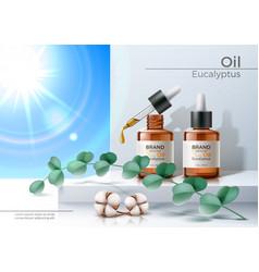 3d herbal oil pipette skin care bottle vector