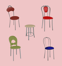 A group of detached modern design chairs on a vector