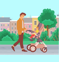 A young father walking with baby stroller vector