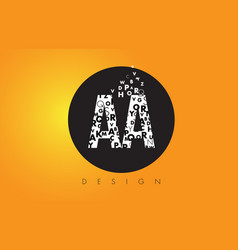 Aa a logo made of small letters with black circle vector