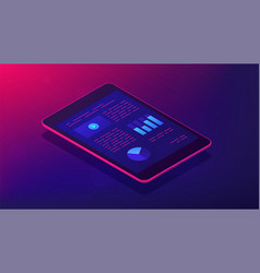 analysis app for tablet 3d isometric vector image