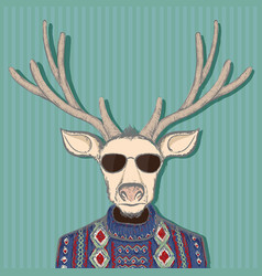 Animal deer in hipster style hand drawn image vector