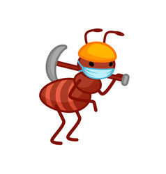 Ant worker wearing a face mask is holding vector