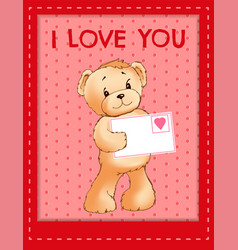 bear holds envelove with heart festive postcard vector image