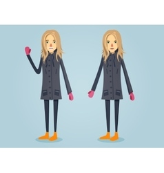 Beautiful girl standing in warm clothes vector image