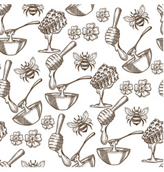 beehive with bees flowers and honey in plate vector image