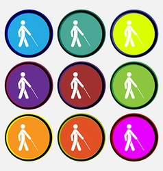 Blind icon sign Nine multi colored round buttons vector
