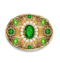 brooch pendant with and precious stones filigree vector image