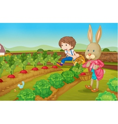 Bunny and boy in the garden vector
