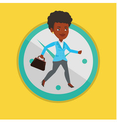 Business woman running on clock background vector