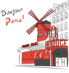 cabaret Moulin Rouge in Paris vector image