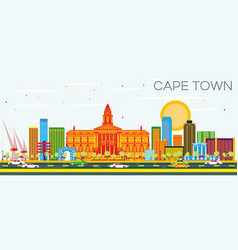 Cape town skyline with color buildings and blue vector