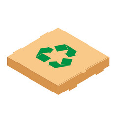 cardboard pizza box with green recycle symbol vector image