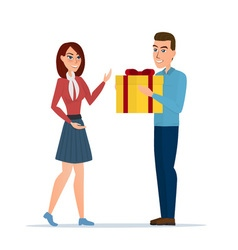 cartoon boy giving girl a gift box isolated on vector image