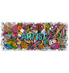 Cartoon cute doodles artist word funny vector