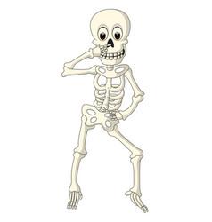 Cartoon funny human skeleton dancing vector